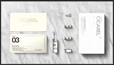 French pharmaceutical manufacturer Santinov'S first peptide-based facial mask set with the CICABEL name.