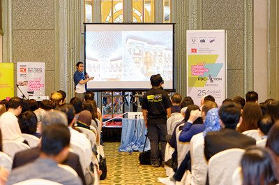 Tengku Danial, the Designer Committee of MIFF 2018 FDC in Action was presenting his experience during the trip to China