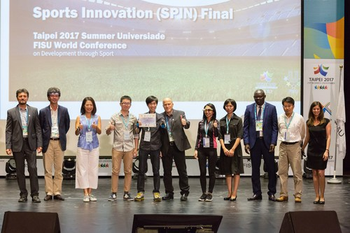"""The Jury Panel and HYPE Foundation together with winner """"ChaseWind"""" (Photography by 2017 Taipei Summer Universiade Conference Organizing Committee)"""