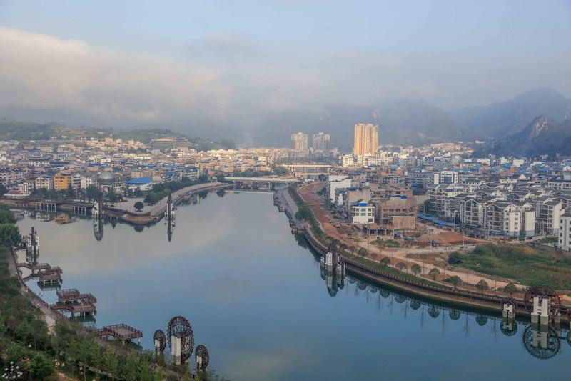 Waterwheels on the bank of Wuyang River, Shibing, Guizhou. Shibing is building a town of Waterwheels.