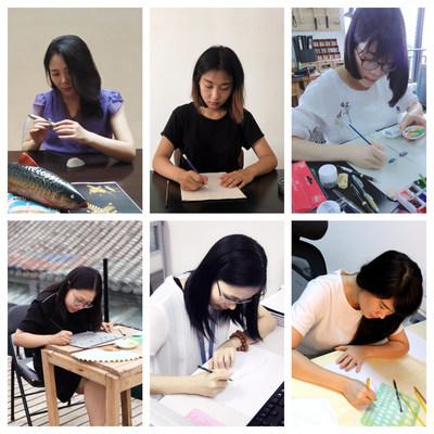 From top left: Wang Xiao Mei, Yi Ran, Liang Xin, Jiang Jie, Chen Wen Mei, Gao Dong Xia