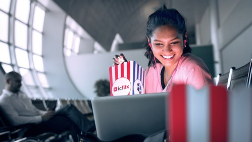 Passengers at DXB will be able to enjoy free movies and TV shows before their flights, thanks to a partnership between Dubai Airports and regional content provider ICFLIX. (PRNewsfoto/Dubai Airports)