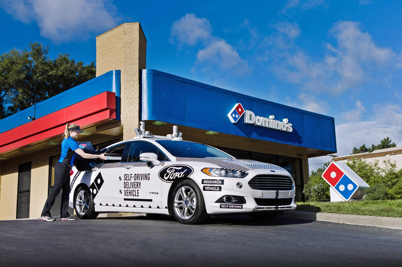 Domino's and Ford Motor Co. are launching an industry-first collaboration to understand the role that self-driving vehicles can play in pizza delivery. Over the next several weeks, randomly-selected Domino's customers in Ann Arbor, Michigan will have the opportunity to receive their delivery order from a Ford Fusion Hybrid Autonomous Research Vehicle, which will be manually-driven by a Ford safety engineer and staffed with researchers.