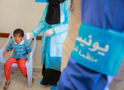 Aux côtés des autorités yéménites, l'UNICEF, l'Organisation mondiale de la santé, et d'autres partenaires mènent une luttent quotidienne pour freiner la propagation du choléra © UNICEF/UN071655/Fuad (Groupe CNW/UNICEF Canada)