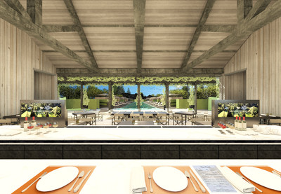 Meadowood Napa Valley - Rendering of Pool Cafe & Bar Interior.