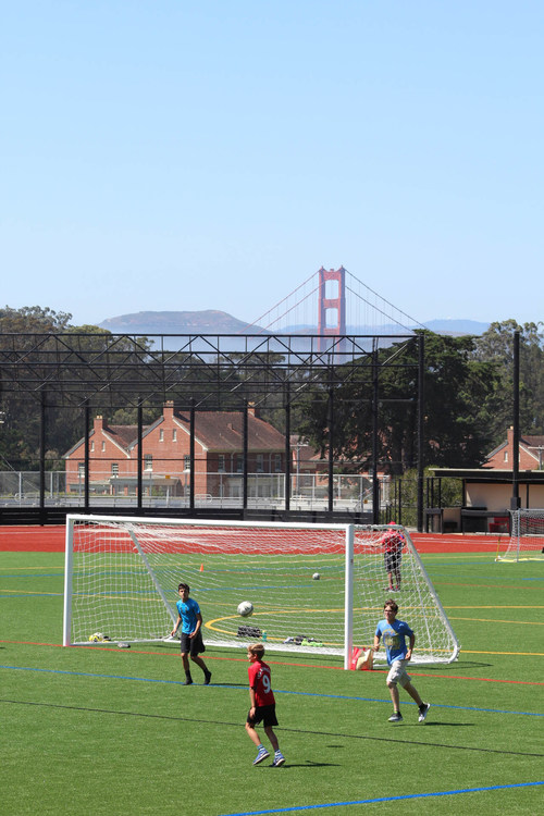 The Presidio of San Francisco played host to the grand opening celebration for the University High School Athletic Complex at Paul Goode Field on Sunday, Aug. 27, 2017. Youth soccer, pictured here, was among several sports and activities showcased on the new facility's opening day.