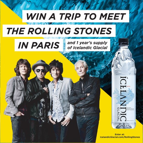 Win a Trip to meet The Rolling Stones in Paris and a one-year supply of Icelandic Glacial.