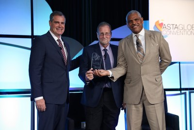 Carnival Corporation was honored by the American Society of Travel Agents (ASTA) with the 2017 ASTA Supplier Partner of the Year Award for its commitment and dedication to travel agents and lasting contributions to the global travel professional industry.From left: Zane Kerby, president and CEO of ASTA; Peter Greenberg, award-winning investigative reporter and producer; Arnold Donald, president and CEO of Carnival Corporation.
