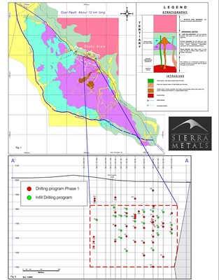 Figure 1 and 2 - Plan Map of Cusi Area and in-fill drilling at the study area. (CNW Group/Sierra Metals Inc.)