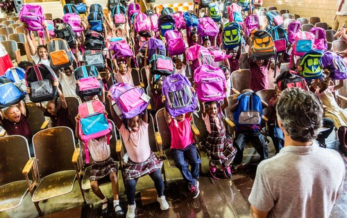 Detroit Public School Community District students receive backpacks filled with supplies from Mike Morse Law Firm.  The firm has donated more than 85,000 backpacks to Michigan students over the past four years.