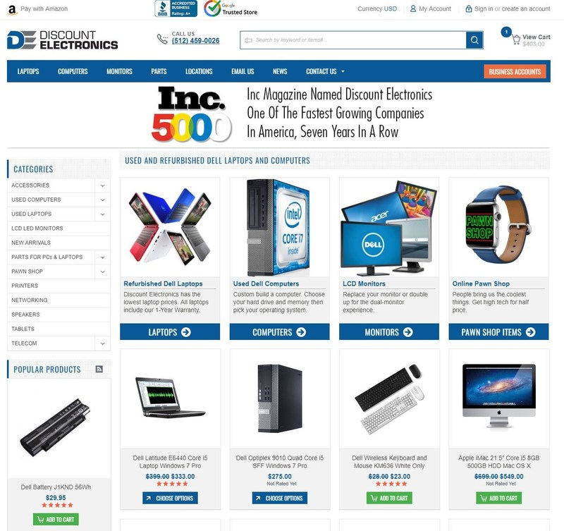Discount Electronics now offers same day shipping of customized Dell PCs and laptops.