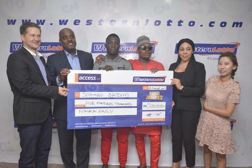 Qadim (c) with Elvis Krivokuca, Yomi Ogunfowora, Olamide, Anita Osadebe and Lucy Lee at Western Lotto presentation of N.5m cheque (PRNewsfoto/Western Lotto)