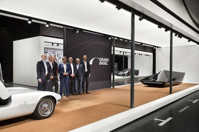 Grand Basel Avant Première (from left to right): Stephan Peyer (Chief Development Officer, MCH Group), René Kamm (CEO, MCH Group), Rem D. Koolhaas, Andrea Zagato, Mark Backé (Managing Director Grand Basel), Giorgetto Giugiaro, Paolo Tumminelli Photo credit: Grand Basel / diephotodesigner.de (PRNewsfoto/Grand Basel)