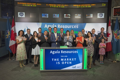 Justin Reid, Managing Director, Aguia Resources Limited (AGRL), joined Tim Babcock, Director, Listed Issuer Services, TSX Venture Exchange to open the market. Aguia Resources Limited's primary focus is on the exploration and development of phosphate projects in Brazil. Aguia has an in-country team based in Belo Horizonte, Brazil with corporate offices in Sydney, Australia. Aguia Resources Limited commenced trading on TSX Venture Exchange on July 6, 2017. (CNW Group/TMX Group Limited)