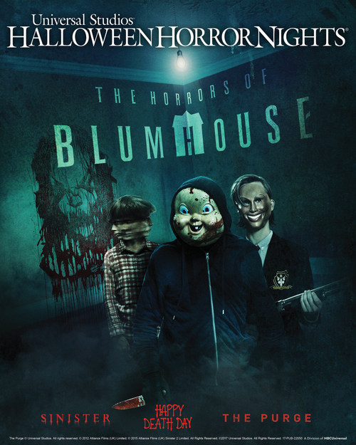 """Beginning September 15, """"The Horrors of Blumhouse"""" Takes Possession of Universal Studios' """"Halloween Horror Nights"""" in Two New Mazes Inspired by Acclaimed Contemporary Horror Producer Jason Blum's Blockbuster Movies."""