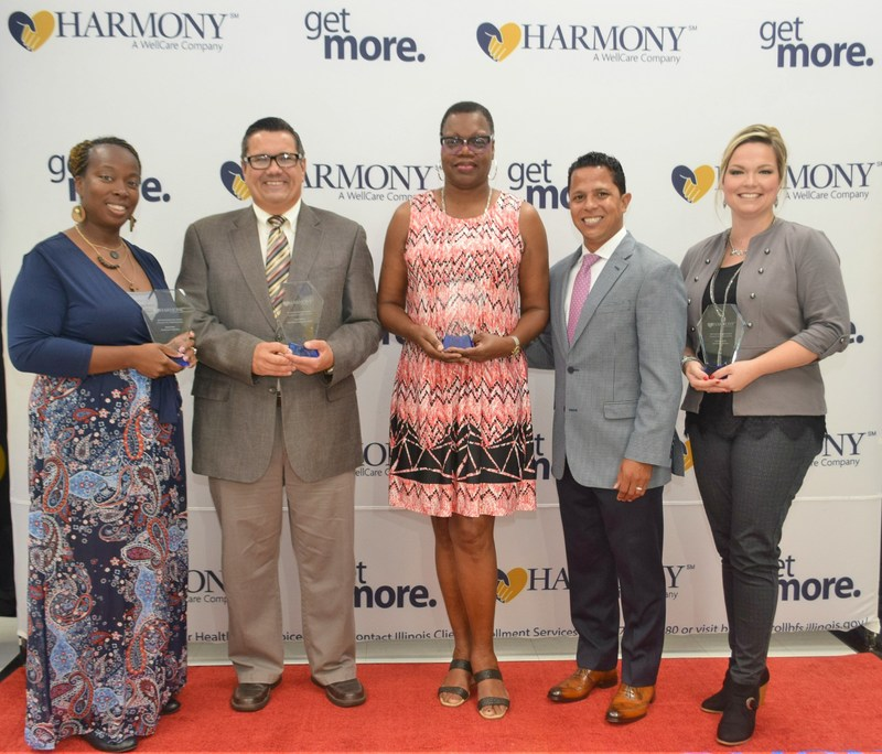 Harmony Health Plan presented its Southern Illinois CommUnity Hero awards. Pictured, left to right, Reona Wise of Lessie Bates Davis Neighborhood House, Keith Fletcher of Johnston City Free Will Baptist Church, Elizabeth Patton-Whiteside of East Side Health District, Miguel Torres with Harmony, and Sherrie L. (Smith) Crabb of Family Counseling Center, Inc.