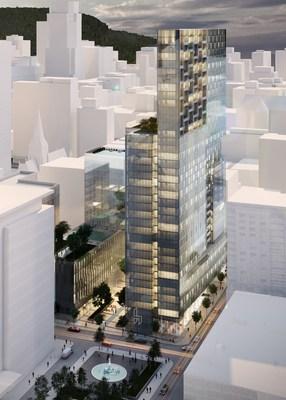 Montréal propulsée à l'avant-scène de l'industrie immobilière nord-américaine avec, en première au Québec, la candidature officielle du mégaprojet HUMANITI à l'attribution de la certification WELL (Groupe CNW/Fonds de solidarité FTQ)