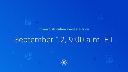 The Kin token distribution event starts on September 12 at 9:00 a.m. ET.