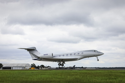 Gulfstream Aerospace Corp. today announced that the final aircraft in the Gulfstream G600 flight-test program has flown for the first time. Outfitted with a complete interior, the aircraft serves as a cabin testbed to ensure a superior customer experience. The aircraft is the fifth to join the G600 flight-test program since it began on Dec. 17, 2016. (PRNewsfoto/Gulfstream Aerospace Corporation)