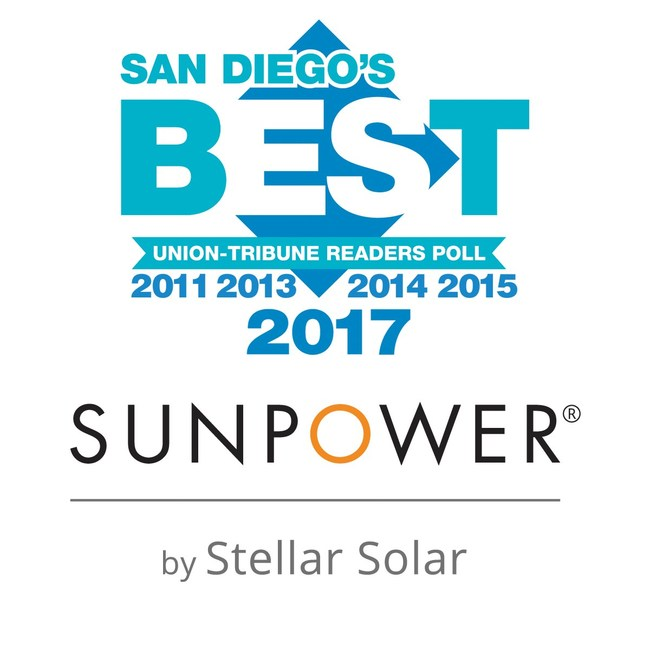 SunPower by Stellar Solar is back on top in San Diego winning Best Solar Power Company for the 5th time in 7 years!
