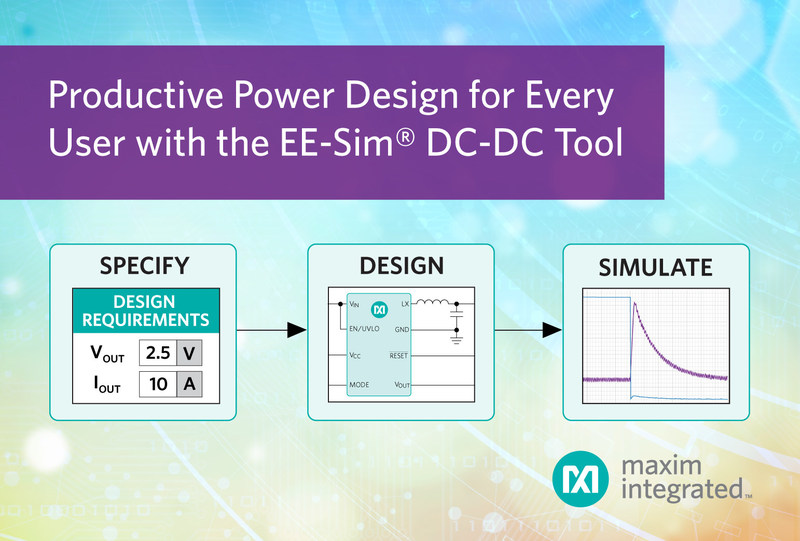 The EE-Sim® DC-DC Converter Tool, part of Maxim's EE-Sim Design and Simulation Environment, uses your requirements to quickly create a complete power design including a schematic, BOM, and waveforms. The DC-DC Converter Tool brings clarity to power supply design, saving hours of time while delivering a quality design.