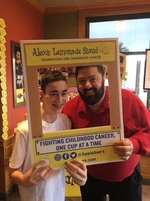 During Applebee's annual fundraising campaign for Alex's Lemonade Stand Foundation this summer, Cole Fitzgerald (left), Foundation Hero and Stage 4 cancer survivor, stopped into the Applebee's in Turnersville, N.J. to support the cause, and took a moment to take a photo with restaurant manager, Chris Audio. Applebee's restaurants nationwide raised $1.3 million this year with an $8 million total in 13 years to help Alex's raise awareness of and fight childhood cancers.