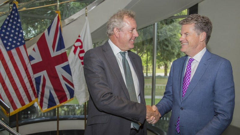 British Ambassador to the U.S. Sir Kim Darroch (left) meets with John Hartman, President of International at Equifax (right).