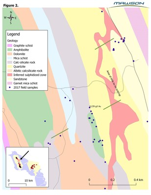 Figure 2: Geological interpretive map from field mapping showing a target horizon extending for 2.5 kilometres.  Green lines show RC drill traverses.  Inset map shows yellow granted permit areas with Rompas to the west (left) and Rajapalot to the right (east), with mapped area shown by orange box. (CNW Group/Mawson Resources Ltd.)