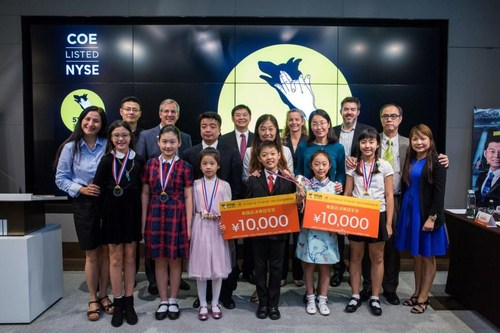 """The six young contestants of the """"51Talk Star Final"""" at the New York Stock Exchange"""
