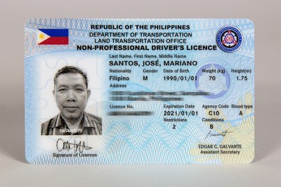 New biometric driver´s license for the Philippines (PRNewsfoto/DERMALOG Identification Systems)