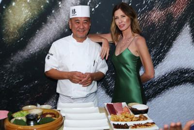 Chef Katsuya Uechi celebrates ribbon cutting of Katsuya's tenth location with journalist, author and television personality, Carole Radziwill