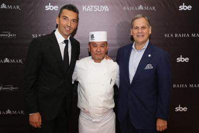 Left to Right: Sebastien Silvestri, Senior Vice President of F&B, Hotel Division at sbe, Chef Katsuya Uechi, and Graeme Davis, President of Baha Mar