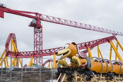 The first Slinky Dog Dash ride vehicle arrives on the site of Toy Story Land at Disney's Hollywood Studios in Lake Buena Vista, Fla. Slinky Dog Dash is a brand-new family coaster coming to the all-new Toy Story Land, opening summer 2018. Inspired by the playful dachshund spinoff of Slinky®, the classic American toy, Slinky® Dog Dash will send riders dipping, dodging and dashing around turns and drops that Andy has created to stretch Slinky® and his coils to the max. (Steven Diaz, photographer)