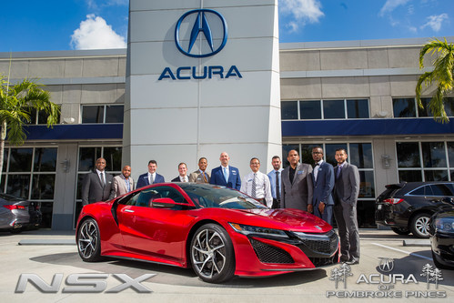 Larry Schlossberg, General Manager and the Acura of Pembroke Pines Sales Team with the all-new, next-generation 2017 Acura NSX at the Acura of Pembroke Pines NSX Test Drive Experience event. #AmaZINNAutomotiveExperiences