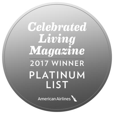 Celebrated Living Magazine for American Airlines. September/October 2017, Platinum List badge