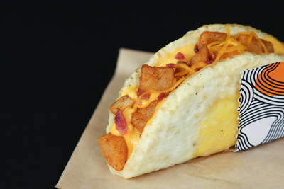 """Taco Bell's Naked Egg Taco is available on menus nationwide today, after a series of """"Bell & Breakfast"""" brunch-eqsue events across the country."""