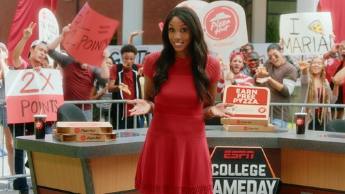 Pizza Hut is partnering with the newest host of ESPN College GameDay, Maria Taylor, to give college football fans a chance at winning free Pizza Hut pizza for a year. Starting Saturday, Sept. 2, Hut Rewards members tuning-in to ESPN College GameDay each week will get their shot at winning a year's supply of Pizza Hut pizza simply by signing up at GameDay.PizzaHut.com.