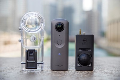 Ricoh Theta V 360-degree camera with 4K video and spatial audio (center) was announced today, along with accessory Underwater Case TW-1 (left) and 3D Microphone TA-1 (right).