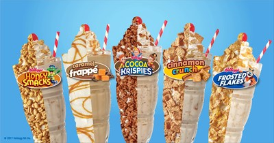 Steak 'n Shake announced a new line of unique breakfast milkshakes, including Kellogg's Frosted Flakes Milkshake, Kellogg's Coca Krispies Milkshake, Kellogg's Honey Smacks Milkshake, Cinnamon Crunch Milkshake, and Caramel Frappe Milkshake.