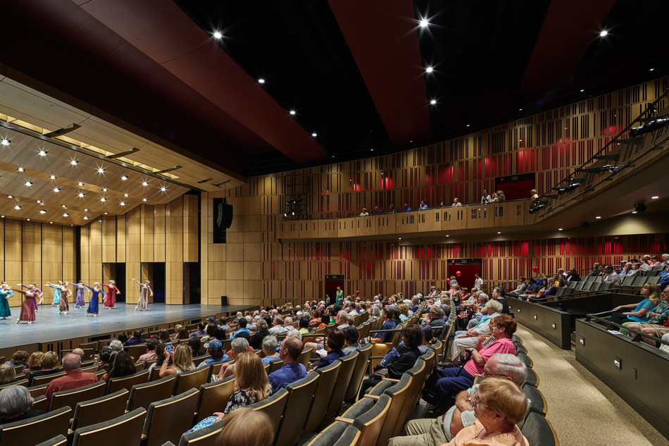 Interior view of the 716-seat multipurpose performance hall. Federal Way Performing Arts and Event Center. Design by LMN Architects. Photo by Doug J. Scott.