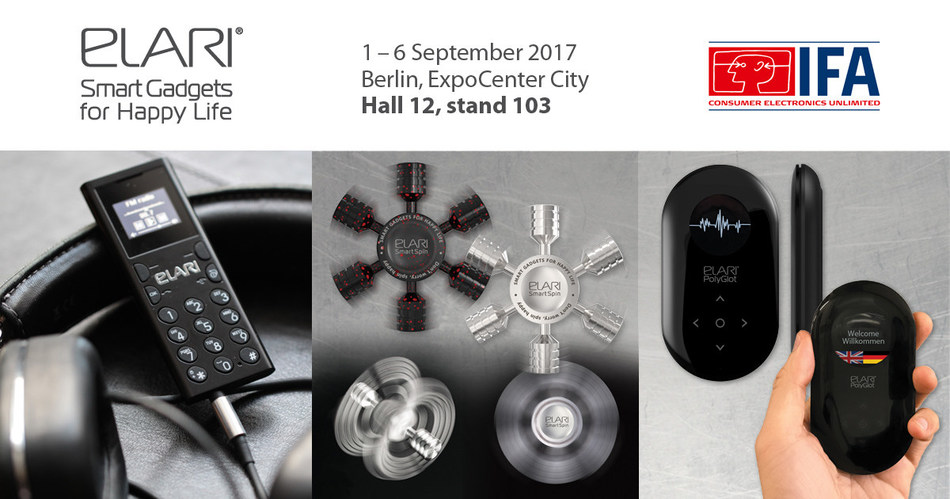 The new ELARI product line at IFA 2017: world's smallest mobile phone Elari NanoPhone C, compact AI Translator Elari PolyGlot and world's first 3D Spinner SmartSpin Model X (PRNewsfoto/Elari)