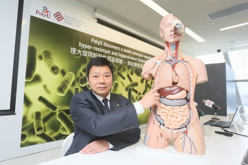 Prof. Chen Sheng, Professor of PolyU's Department of Applied Biology and Chemical Technology, discovered a newly emerged superbug, hyper-resistant and hypervirulent Klebsiella pneumoniae (PRNewsfoto/The Hong Kong Polytechnic Univer)