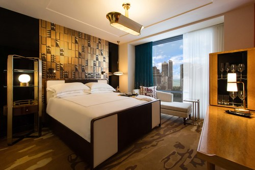 A guest room at the new Viceroy Chicago.