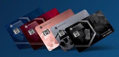 (From left to right) Midnight Blue (Classic plastic card), Ruby Steel, Rose Gold, Space Gray (Platinum metal cards) and Obsidian Black (Limited Edition Platinum metal card)