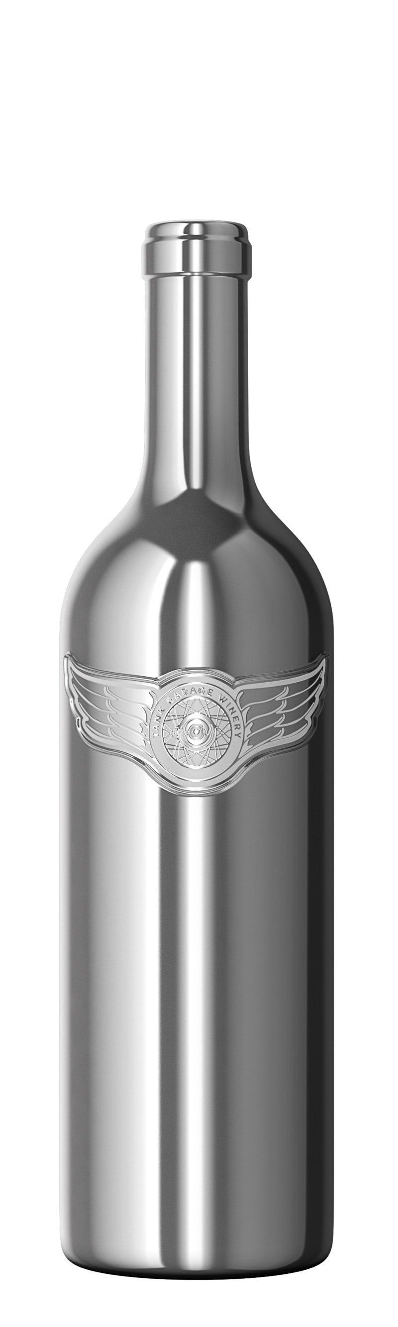 World's First Chromed-Glass Wine Bottle, Tank Garage Winery Chrome Dreams, a Napa Valley Cabernet Sauvignon