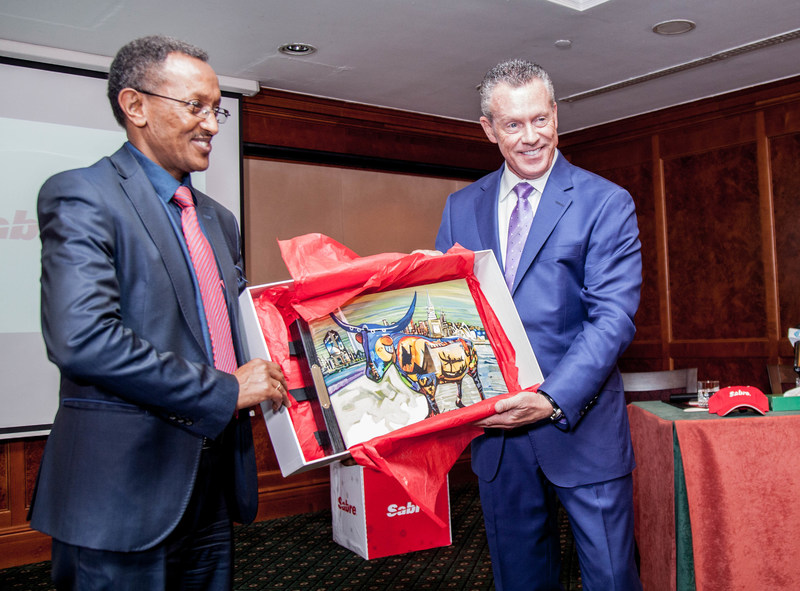 Esayas Weldemariam, Group Director of International Service, Ethiopian Airlines and Greg Gilchrist, senior vice president, Airline Solutions, Sabre