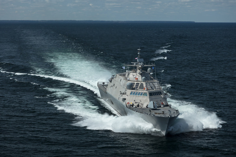 The future USS Little Rock (LCS 9) underway during a high-speed run in Lake Michigan during Acceptance Trials. Lockheed Martin and Fincantieri Marinette Marine successfully completed acceptance trials on the future USS Little Rock (LCS 9), on Aug. 25.