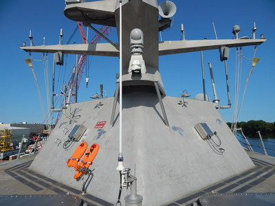 Brooms fly from the future USS Little Rock's mast signifying a clean sweep of the ship's sea trials. LCS 9, the fifth Freedom-variant built by Lockheed Martin and Fincantieri Marinette Marine, completed acceptance trials with the highest score of any Freedom-variant LCS to date. She will be delivered to the Navy and commissioned later this year.