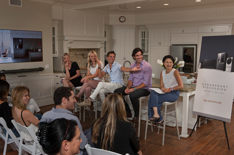 """PureWow's LA editor Dana Dickey moderated an Oceanfront Discussion with HGTV's Jasmine Roth, BravoTV's """"Million Dollar Listing LA"""" Madison Hildebrand, HGTV host Carter Oosterhouse and LG SIGNATURE's Peggy Ang who provided insight on the latest trends in luxury design and innovation. (Photo Credit: Tom Bonner)"""