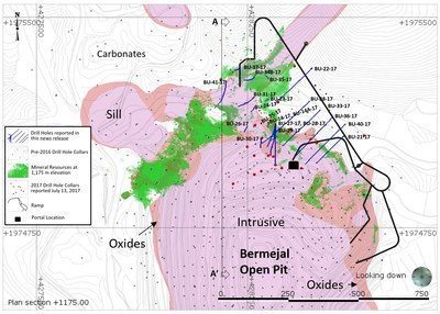 Figure 1: Plan View Map of Bermejal Area Showing Geology, Drill Holes Reported and Outline of Bermejal Underground Resource at 1,175 m elevation (CNW Group/Leagold Mining Corporation)